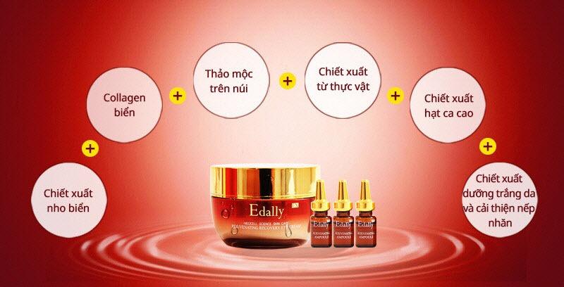 Thành phần kem mắt và huyết thanh collagen tươi Edally Ex