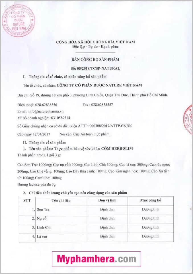 giấy chứng nhận cốm giảm cân herbslim mỹ phẩm hera