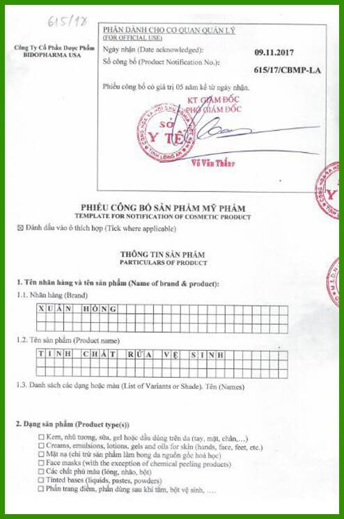giấy chứng nhận tinh chất dung dịch vệ sinh Xuân Hồng