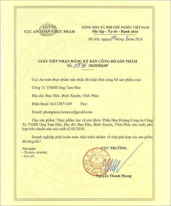 avata giấy chứng nhận công bố mỹ nhân hoàng cung myphamhera.com