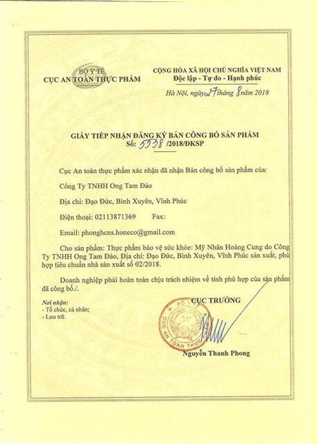 giấy chứng nhận công bố sản phẩm mỹ nhân hoàng cung myphamhera.com