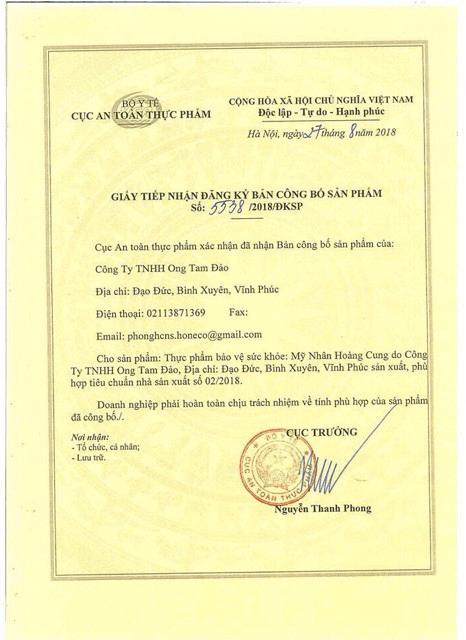 giấy chứng nhận mỹ nhân hoàng cung myphamhera.com