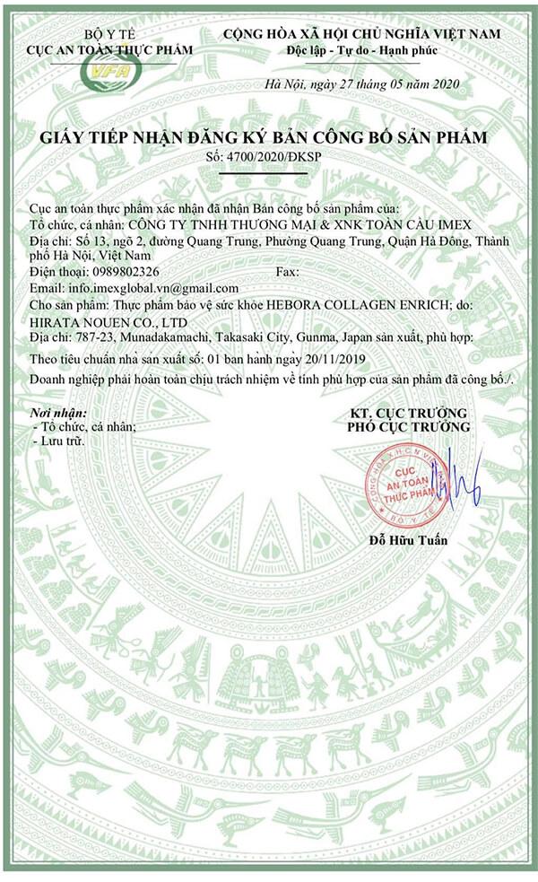 giấy chứng nhận nước uống hebora collagen enrich myphamhera.com