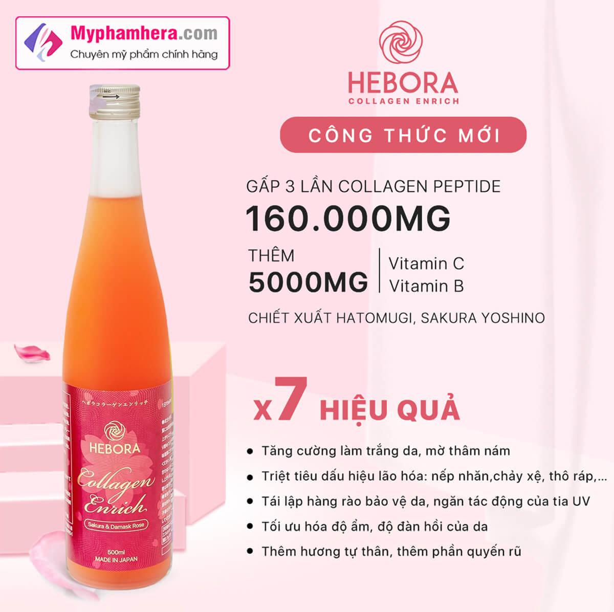 ưu điểm của nước uống collagen hebora enrich japan myphamhera.com