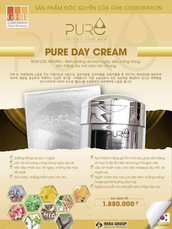 Kem dưỡng da Lộc Nhung Pure Day Cream có tốt không