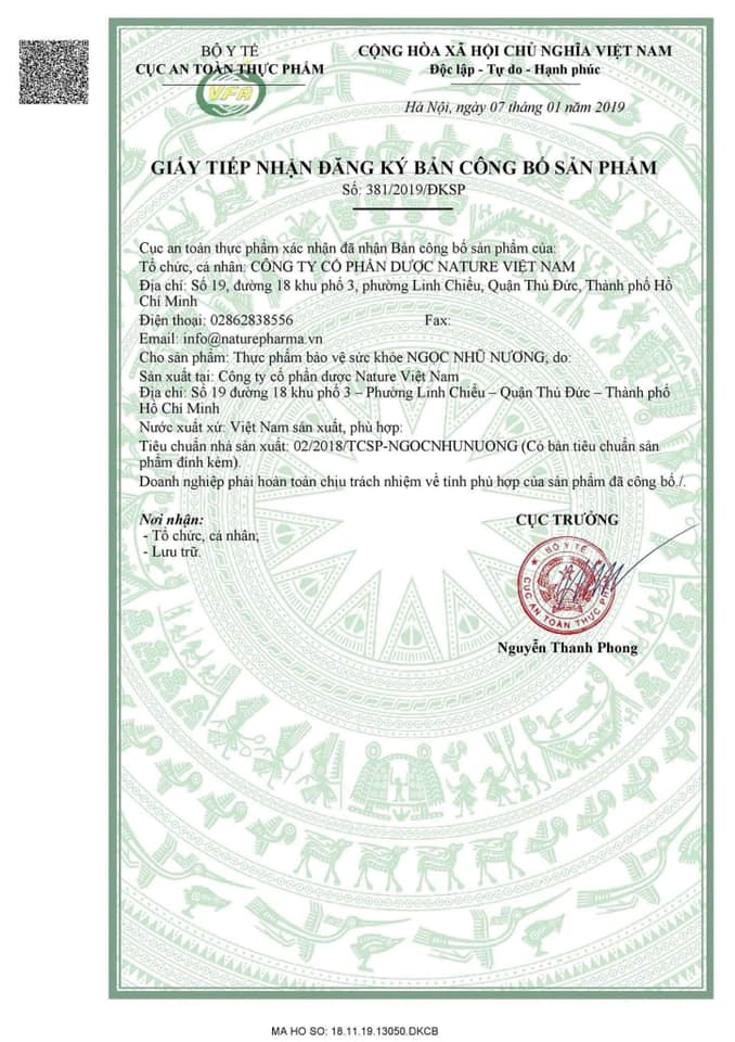 Đăng ký công bố sản phẩm Ngọc Nhũ Nương