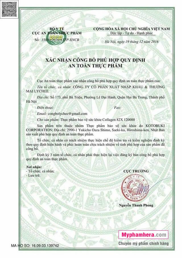 giấy chứng nhận nước uống collagen 82x sakura placenta mỹ phẩm hera