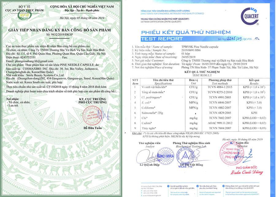giấy chứng nhận tinh dầu thông đỏ edally myphamhera.com