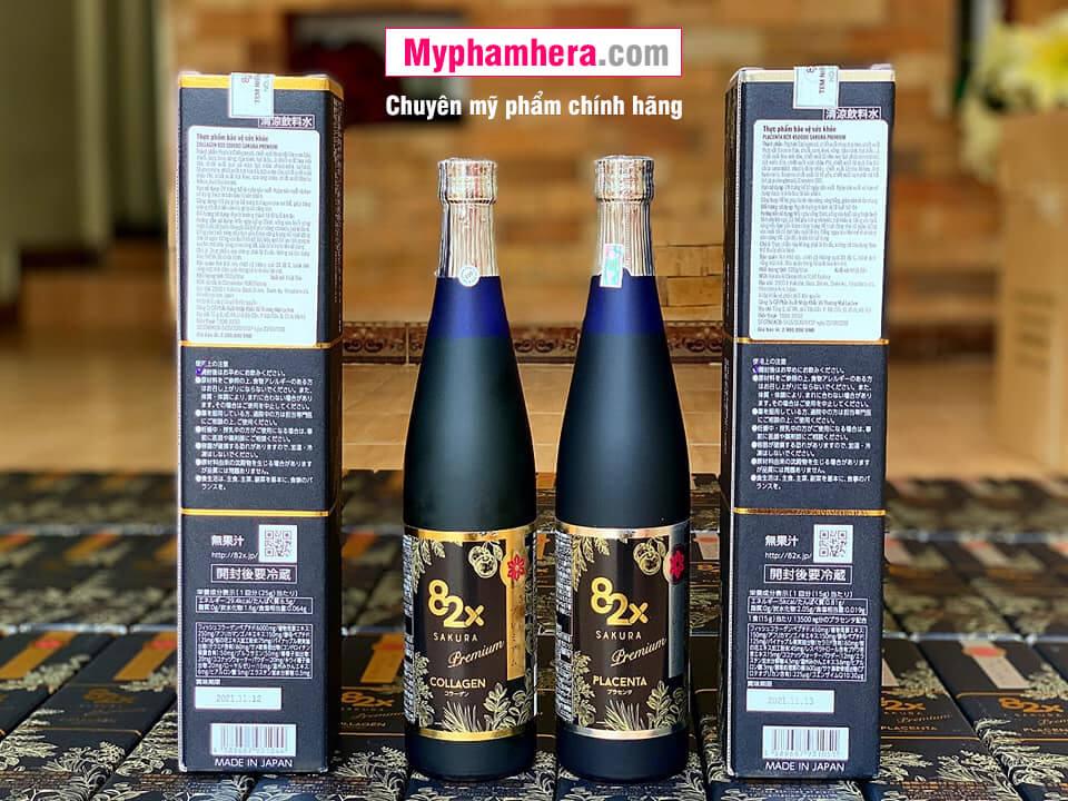 nước uống collagen 82x sakura placenta chính hãng mỹ phẩm hera