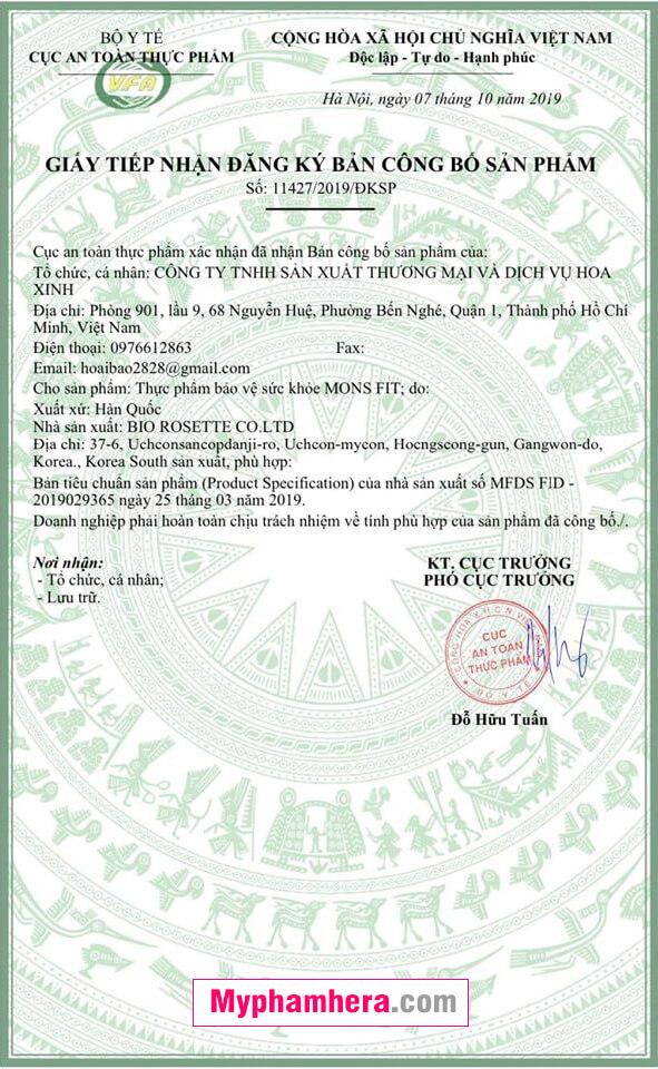 giấy chứng nhận monsfit mỹ phẩm hera