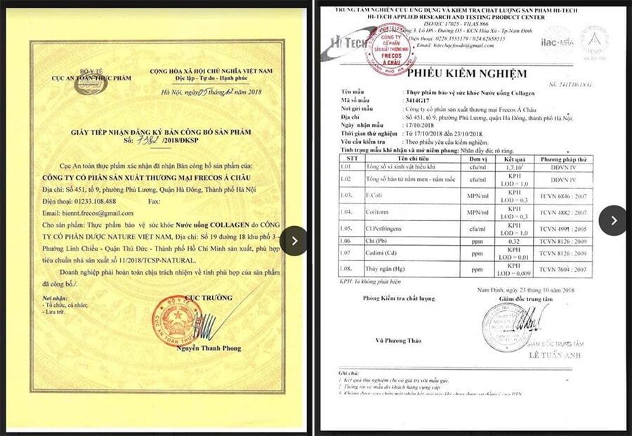 giấy chứng nhận nước uống collagen schon mỹ phẩm hera