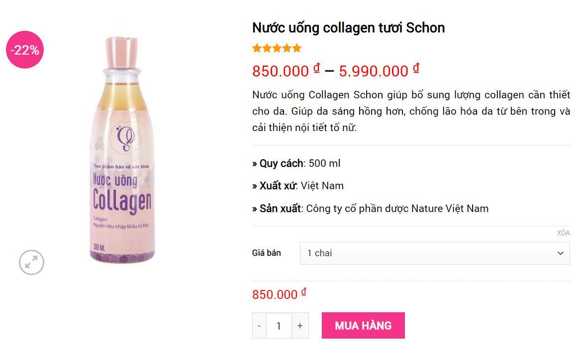 nước uống collagen schon giá bao nhiêu mỹ phẩm hera