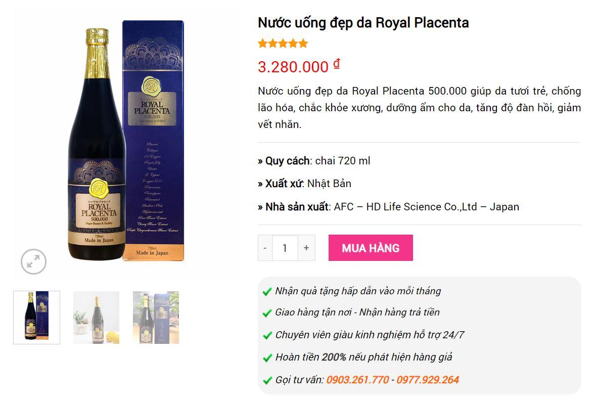 giá nước uống royal placenta giá bao nhiêu