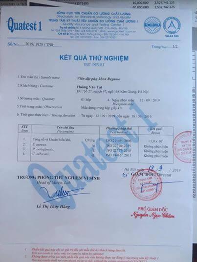 giấy chứng nhận regamo