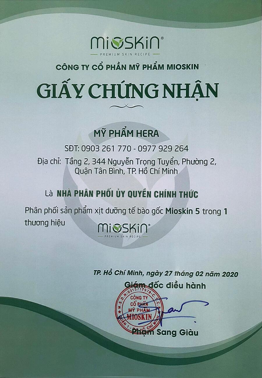 giấy chứng nhận nhà phân phối xịt khoáng mioskin chính hãng mỹ phẩm hera