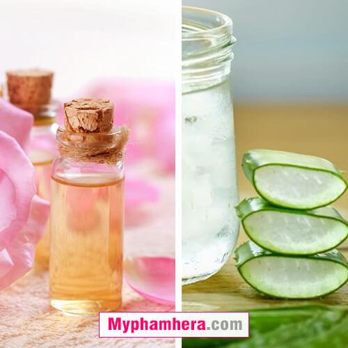 Cách dưỡng trắng da bằng nha đam và nước hoa hồng mỹ phẩm hera