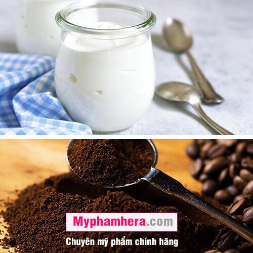 cách tẩy tế bào da chết bằng bã cà phê và sữa chua mỹ phẩm hera