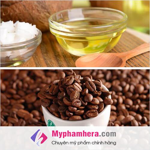 cách làm trắng da bằng bột cà phê và dầu dừa mỹ phẩm hera