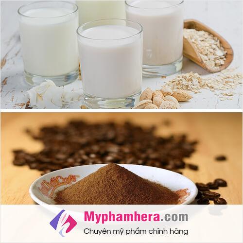 cách làm trắng da bằng bột cà phê và sữa tươi mỹ phẩm hera