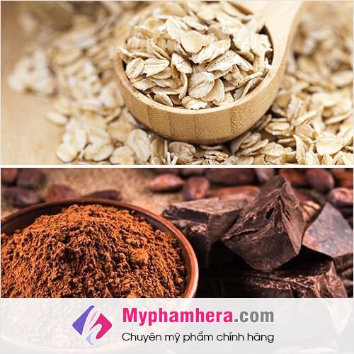 cách làm trắng da toàn thân bằng bột cacao và yến mạch mỹ phẩm hera