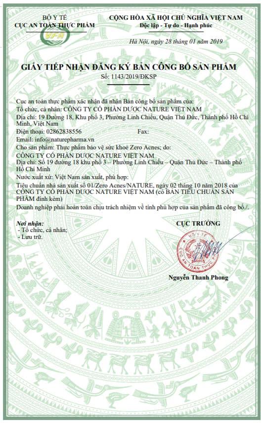 giấy chứng nhận viên uống zero acnes