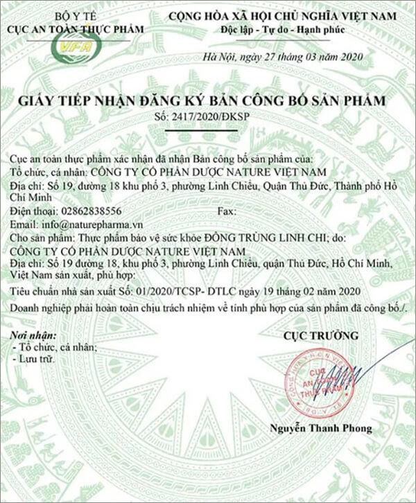 avata giấy chứng nhận công bố đông trùng linh chi myphamhera.com