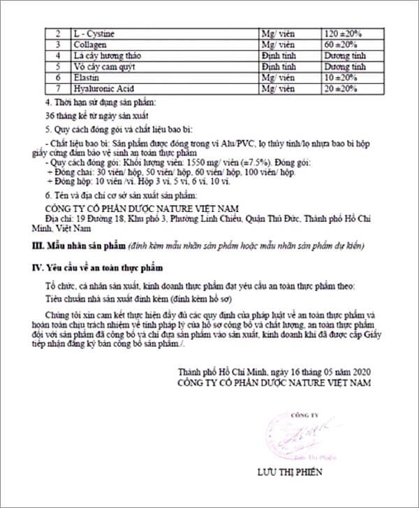 giấy chứng nhận công bố sản phẩm viên uống diamond white myphamhera.com