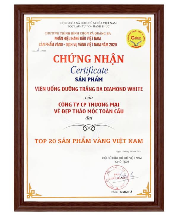 avata giấy chứng nhận viên uống trắng da diamond white myphamhera.com