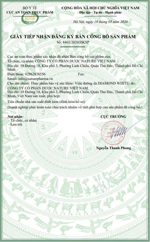 giấy nhận công bố sản phẩm viên uống trắng da diamond white myphamhera.com
