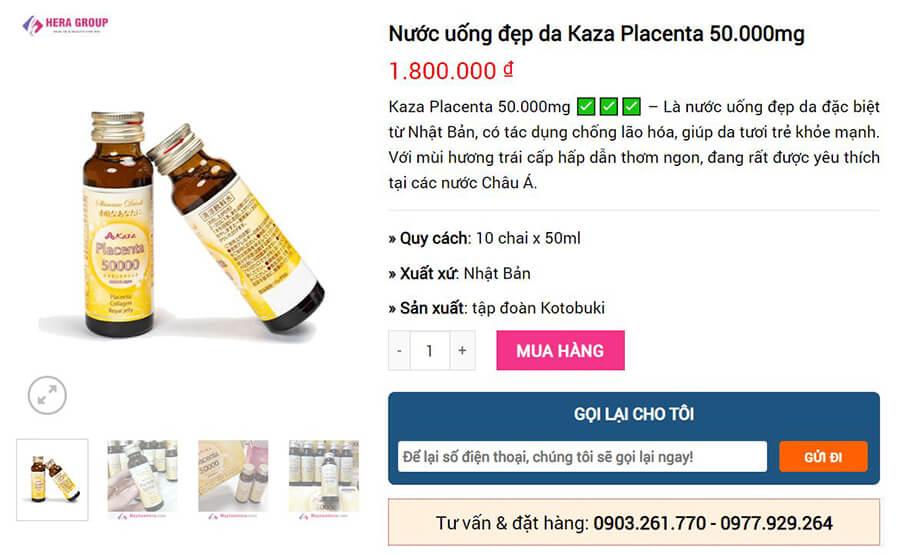 giá bán kaza placenta 50.000mg myphamhera.com