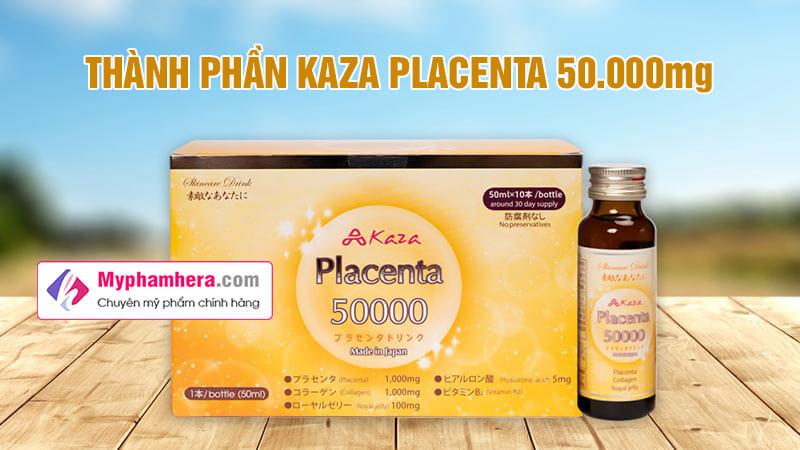 thành phần nước uống đẹp da kaza placenta 50000mg myphamhera.com
