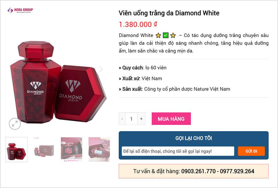 viên uống diamond white giá bao nhiêu myphamhera.com