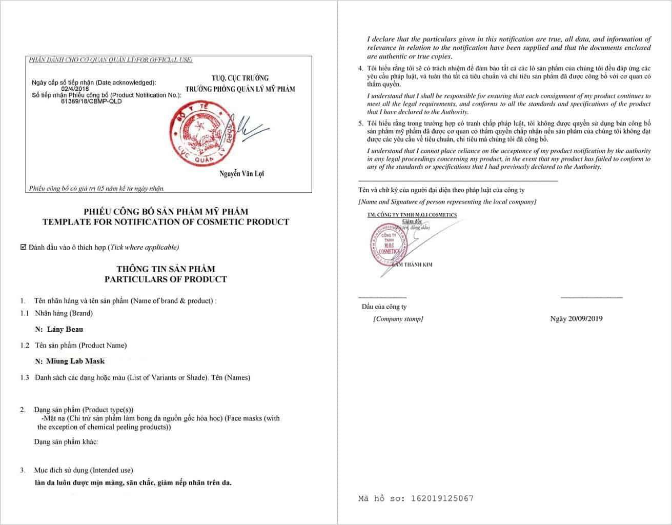 giấy chứng nhận công bố sản phẩm mặt nạ miung lab myphamhera.com