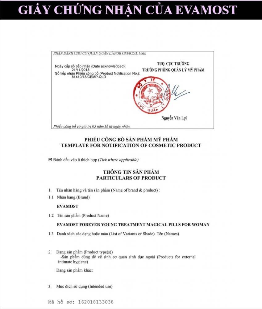 giấy chứng nhận evamost myphamhera.com