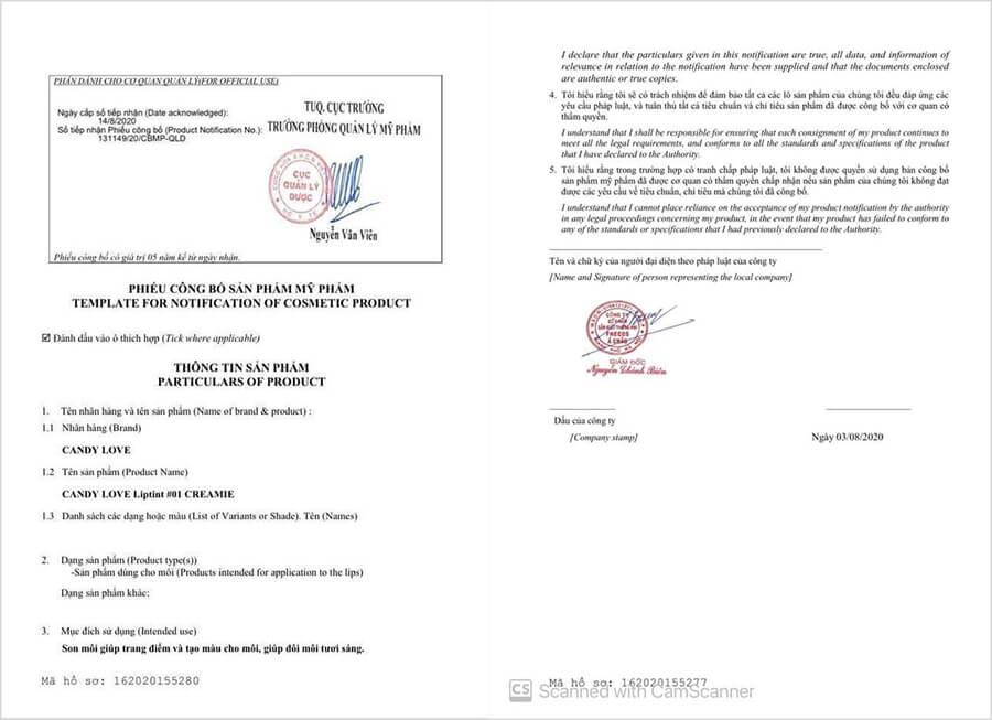 giấy chứng nhận son candy love myphamhera.com