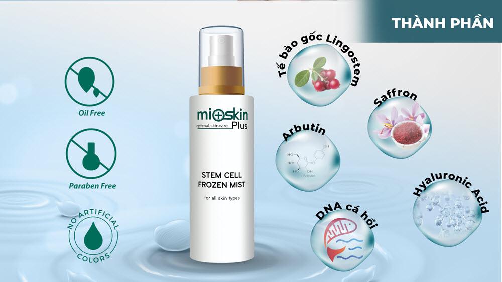 Thành phần xịt dưỡng tế bào gốc Mioskin Plus