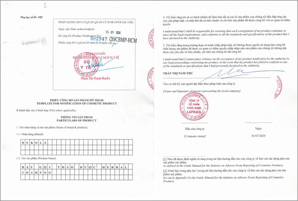 giấy chứng nhận công bố sản phẩm dầu dội dekola myphamhera.com