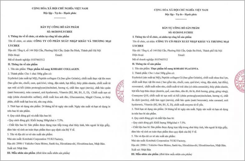 giấy chứng nhận công bố sản phẩm nước uống collagen koharu myphamhera.com