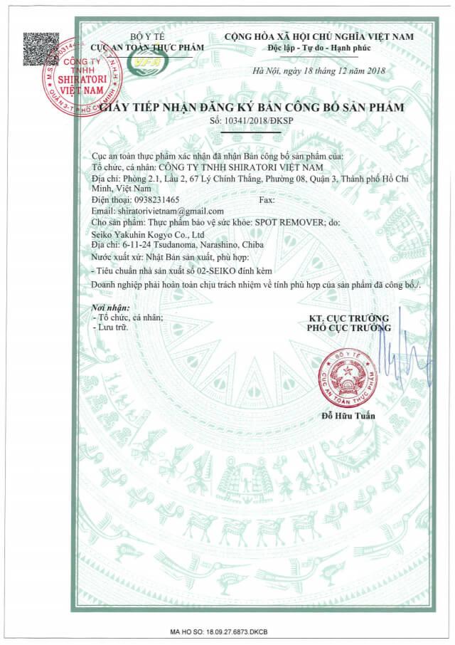 giấy chứng nhận công bố sản phẩm shiratori spot remover myphamhera.com