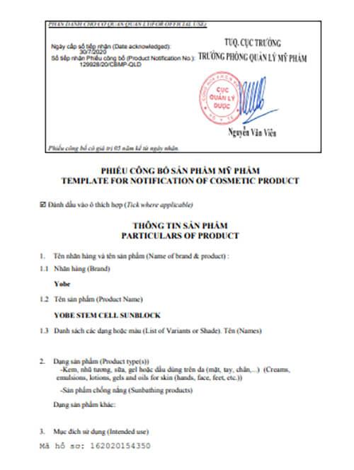 giấy chứng nhận công bố sản phẩm kem chống nắng yobe myphamhera.com