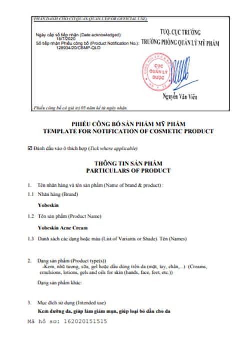 giấy chứng nhận công bố sản phẩm kem trị mụn yobeskin myphamhera.com