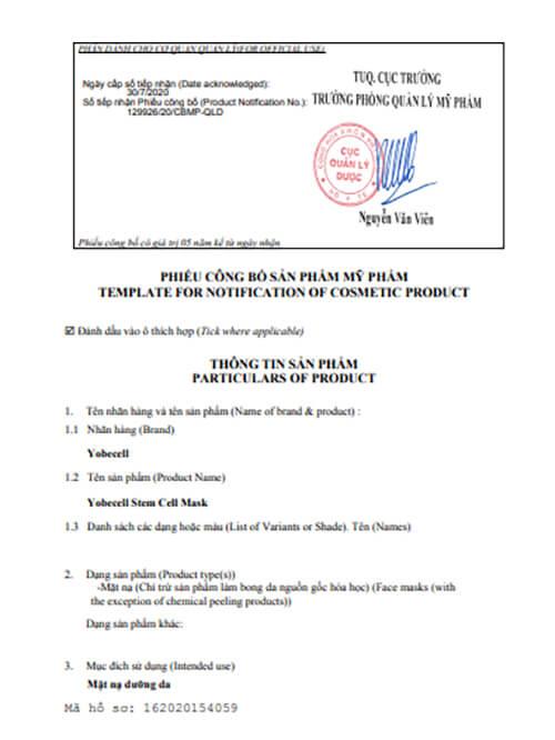 giấy chứng nhận công bố sản phẩm mặt nạ yobecell myphamhera.com