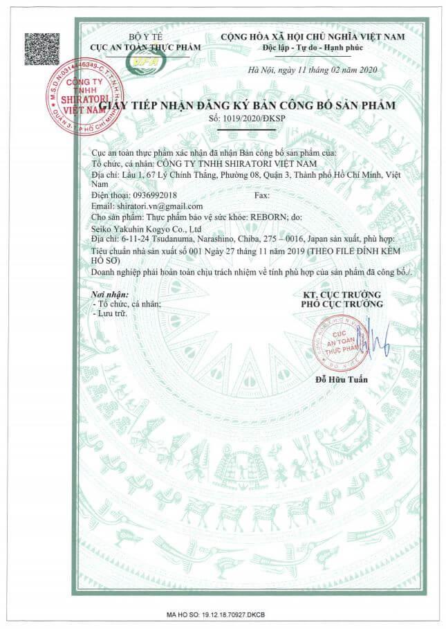 giấy chứng nhận công bố sản phẩm shiratori reborn myphamhera.com