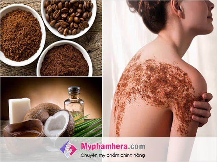 Cách làm trắng da với dầu dừa và cafe