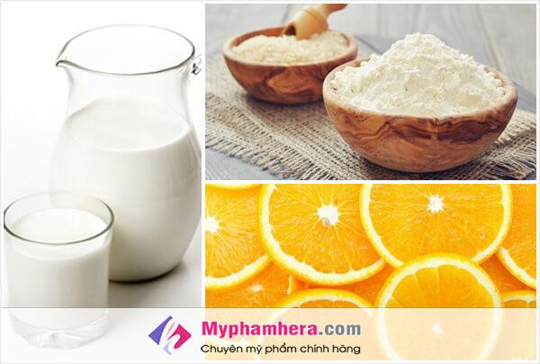 Sữa tươi không đường, chanh và bột cám gạo