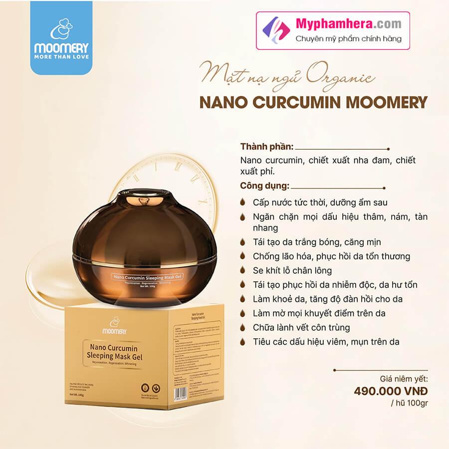 Công dụng mặt nạ ngủ nghệ nano moomery curcumin sleeping mask myphamhera.com
