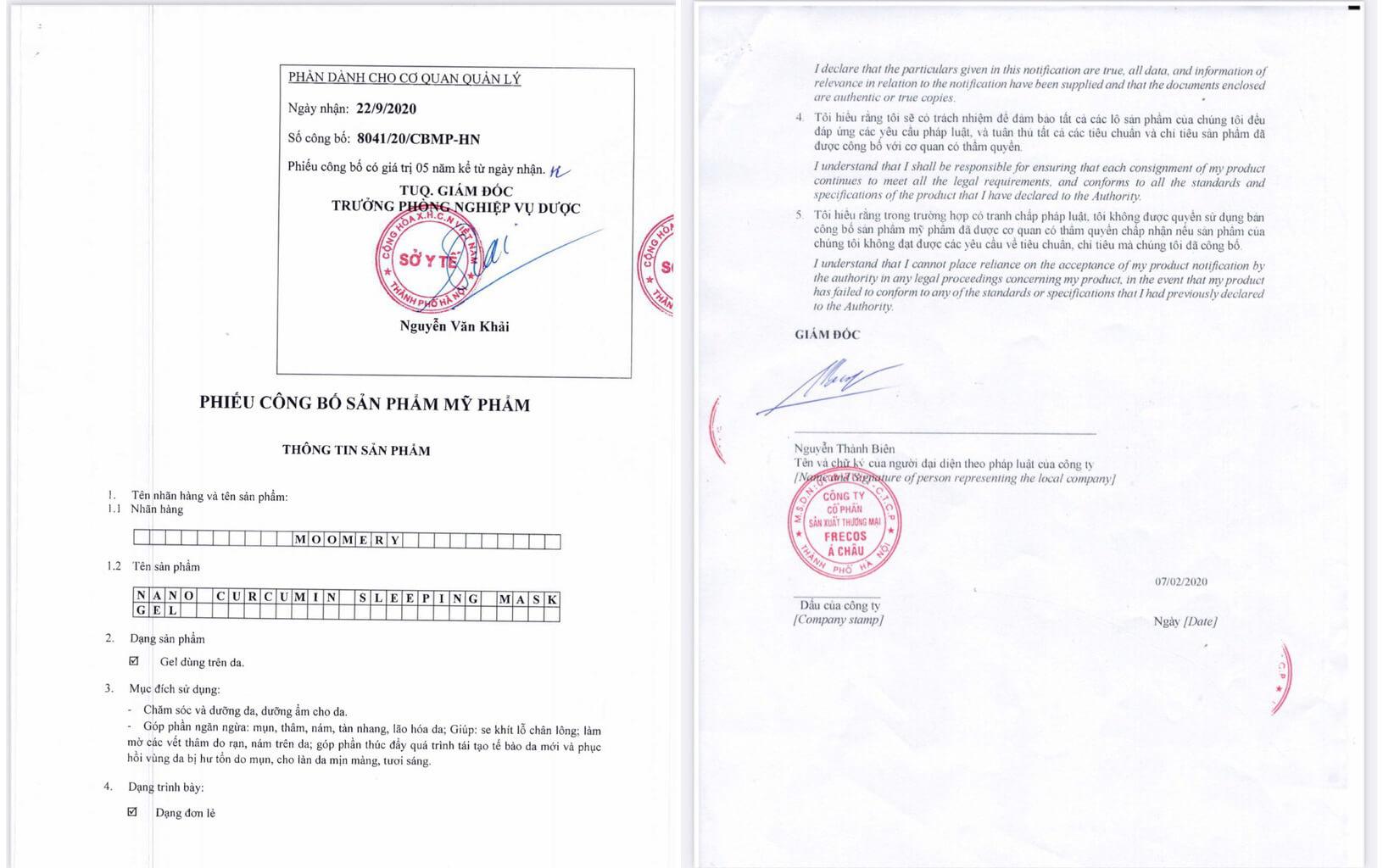 giấy chứng nhận gel mặt nạ ngủ nghệ nano curcumin moomery myphamhera.com