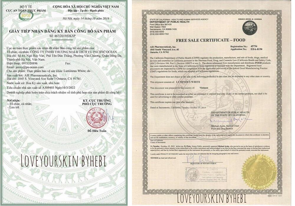 giấy chứng nhận viên uống trắng da luminous white myphamhera.com