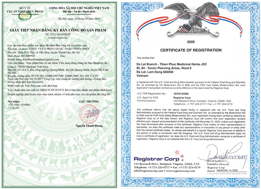 giấy chứng nhận viên nan đông trùng hạ thảo banikha thiên phúc myphamhera.com