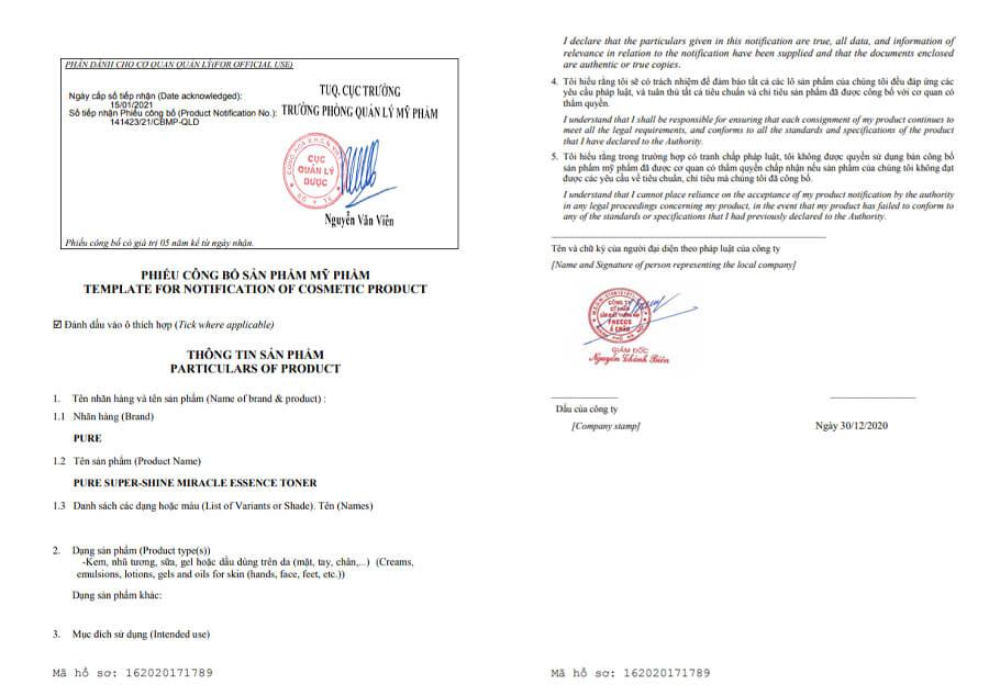 giấy chứng nhận nước thần pure myphamhera.com